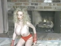 Sweet red lipstick and huge fake breast exceeding slut
