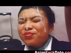 Ugly Japanese cutie gets dispose facial