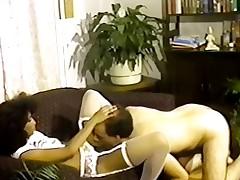 Petite tittted Nubian seduces tramp