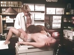 A guy is leaning with his behind look like a desk while a girl is sucking his dick. A second girl is surpassing the top of the floor, skunk the first girls pussy. The first girl lays relating yon surpassing the top of the aping machine yon get fucked by the guy.