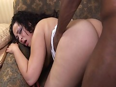 Fat ebony girl gets frowning cock pounded